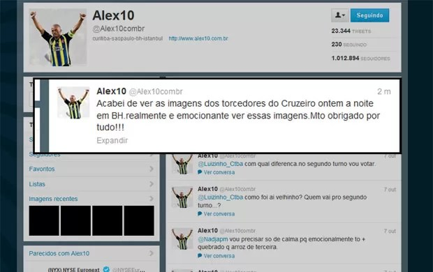 alex cruzeiro Fenerbahçe (Foto: Reprodução/Twitter)