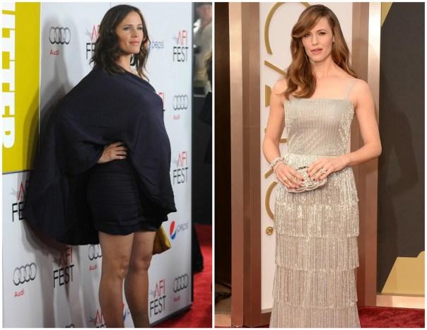 Jennifer Garner em novembro de 2011 (à esq.) e em março de 2014. O caçula da atriz, Samuel, nasceu em 27 de fevereiro de 2012. (Foto: Getty Images)
