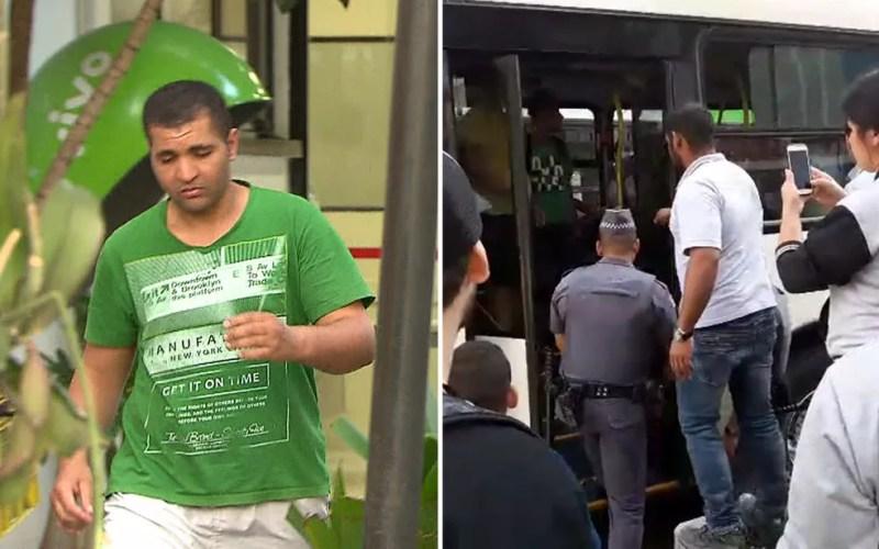 Montagem mostra homem que ejaculou em mulher deixando delegacia e o momento em que ele ficou preso dentro do ônibus (Foto: Reprodução)