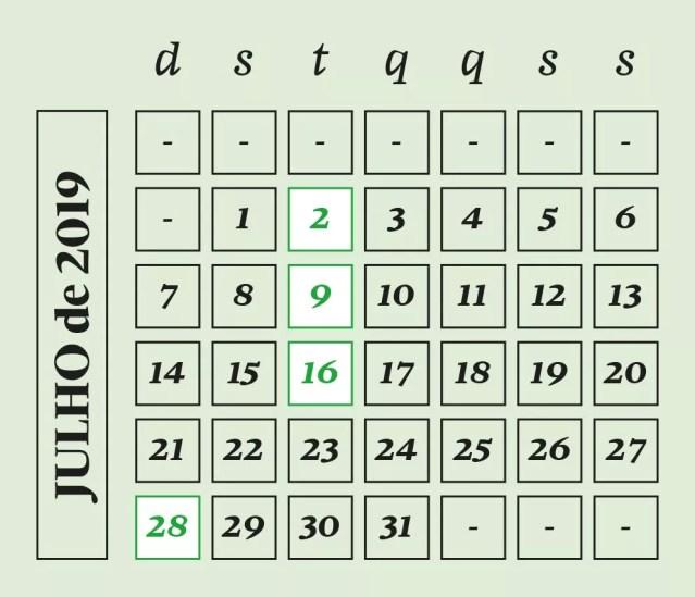 Calendário astronômico de julho (Foto: GALILEU)