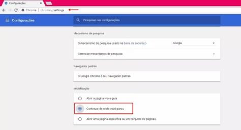 Configurando opção para Chrome começar de onde parou (Foto: Reprodução/ Taysa Coelho)