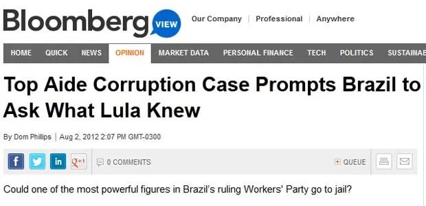 A rede norte-americana Bloomberg abre sua reportagem falando de José Dirceu (Foto: Reprodução)