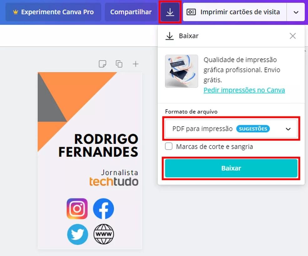 Canva permite fazer download do cartão de visita em PDF — Foto: Reprodução/Rodrigo Fernandes