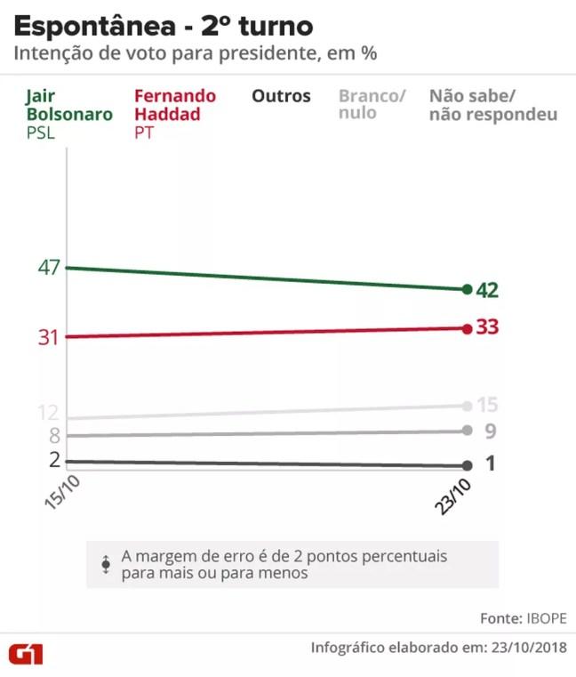 Pesquisa Ibope - 23-10 - Eleição presidencial no 2º turno - Espontânea — Foto: Arte/G1