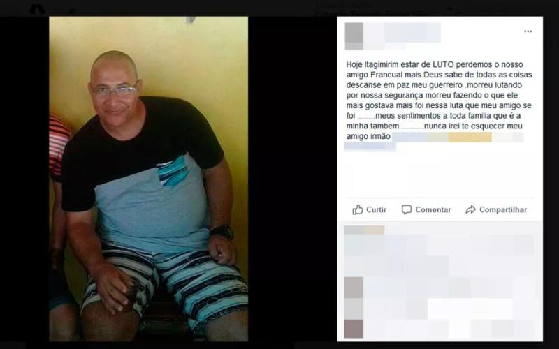 Amigos do sargento deixaram mensagens de luto nas redes sociais (Foto: Reprodução/Facebook)