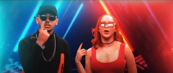 DJ Lucas Beat e Malu no clipe do remix de 'Disco arranhado' — Foto: Divulgação