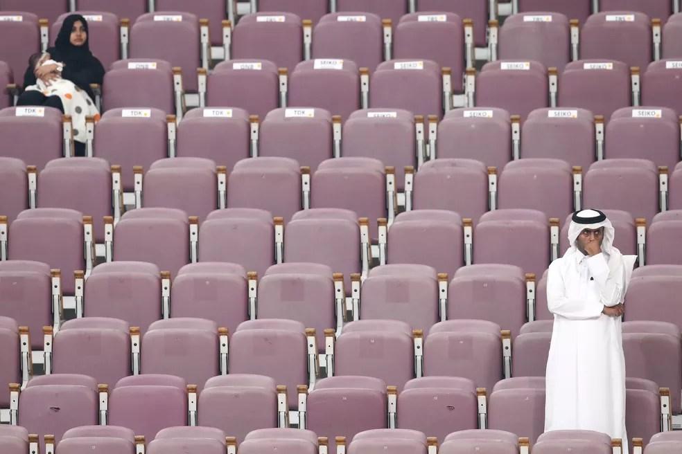 Arquibancada vazia durante Mundial de Atletismo em Doha, no Catar — Foto: Alexander Hassenstein/Getty Images