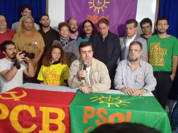 Freixo no lançamento de sua campanha junto com o PCB - Partido Comunista Brasileiro, partido que o apoia desde o 1° turno