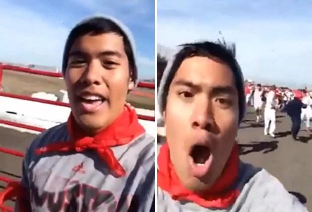 Selfie de Christian Plaing era, na verdade, um vídeo gravado durante corrida de touros em Houston, no Texas (EUA) (Foto: Reprodução/YouTube/myownconviction)