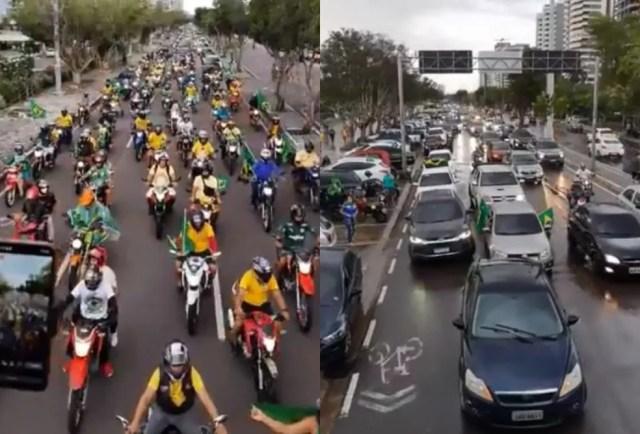 Carreata de apoio a Bolsonaro em Manaus foi transmitida nas redes sociais. — Foto: Reprodução