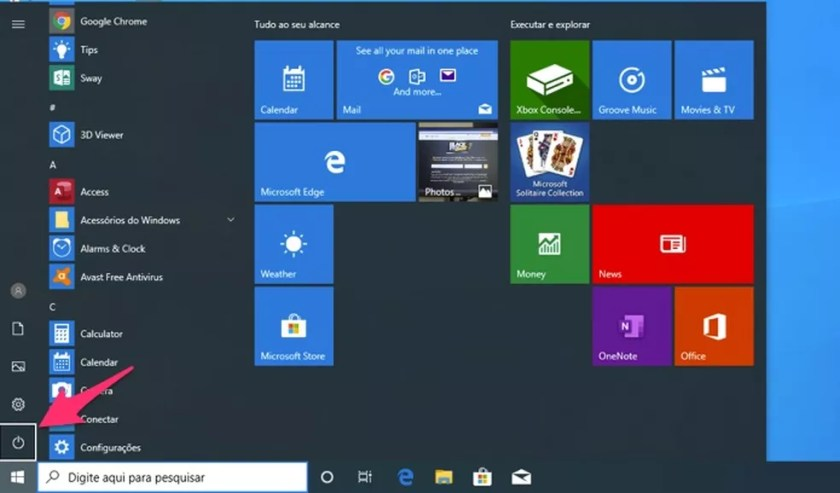 Ação para visualizar as opções para o botão desligar do Windows — Foto: Reprodução/Marvin Costa