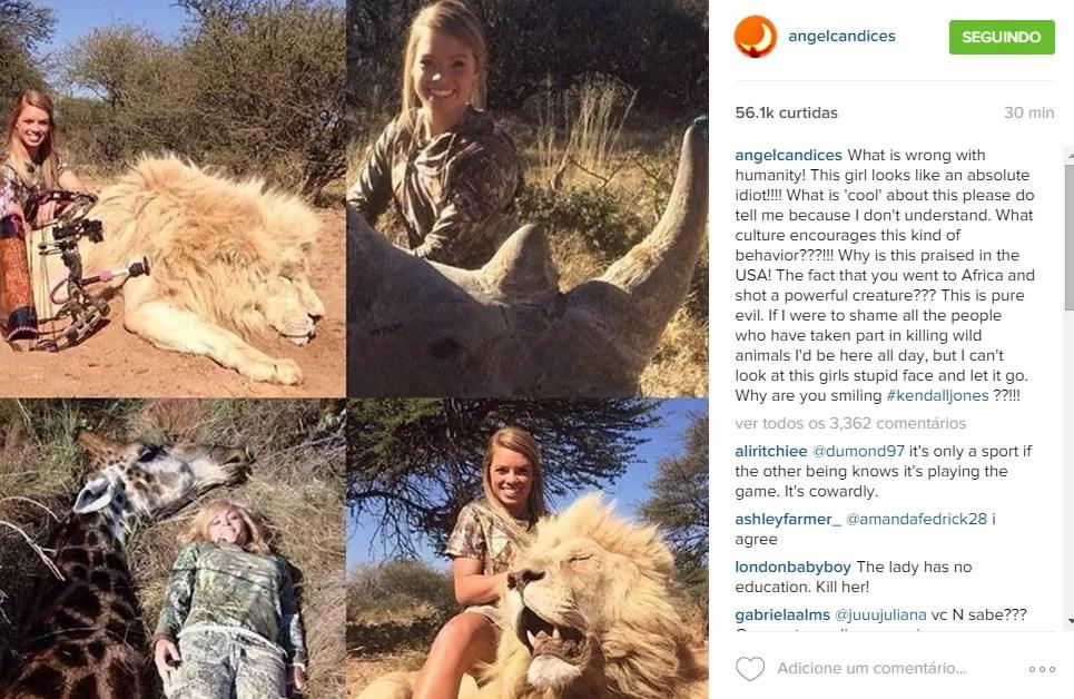 E o post desta sexta-feira, contra a jovem texana (Foto: Reprodução/Instagram)