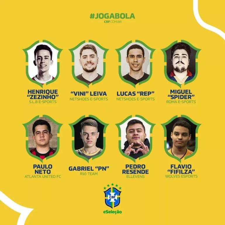 Confira os oito convocados para a CBF eSeleção — Foto: Divulgação