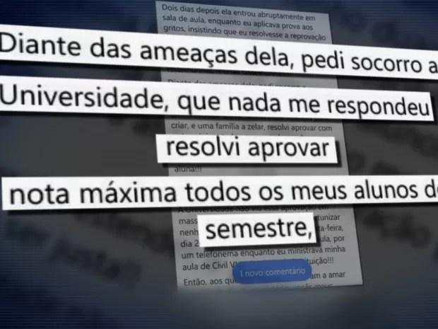 Ameaçada por aluna, professora dá nota 10 para toda turma e é demitida em Goiás (Foto: Reprodução/TV Anhanguera)