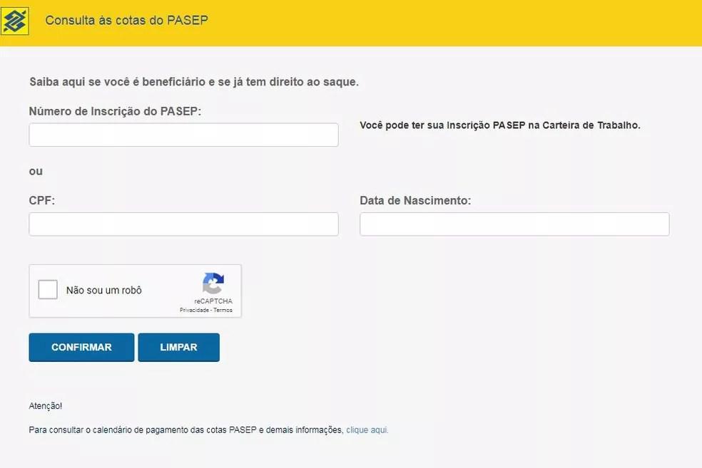 Tela do site do BB na qual é preciso colocar os dados pessoais para acessar o saldo do Pasep (Foto: Reprodução)