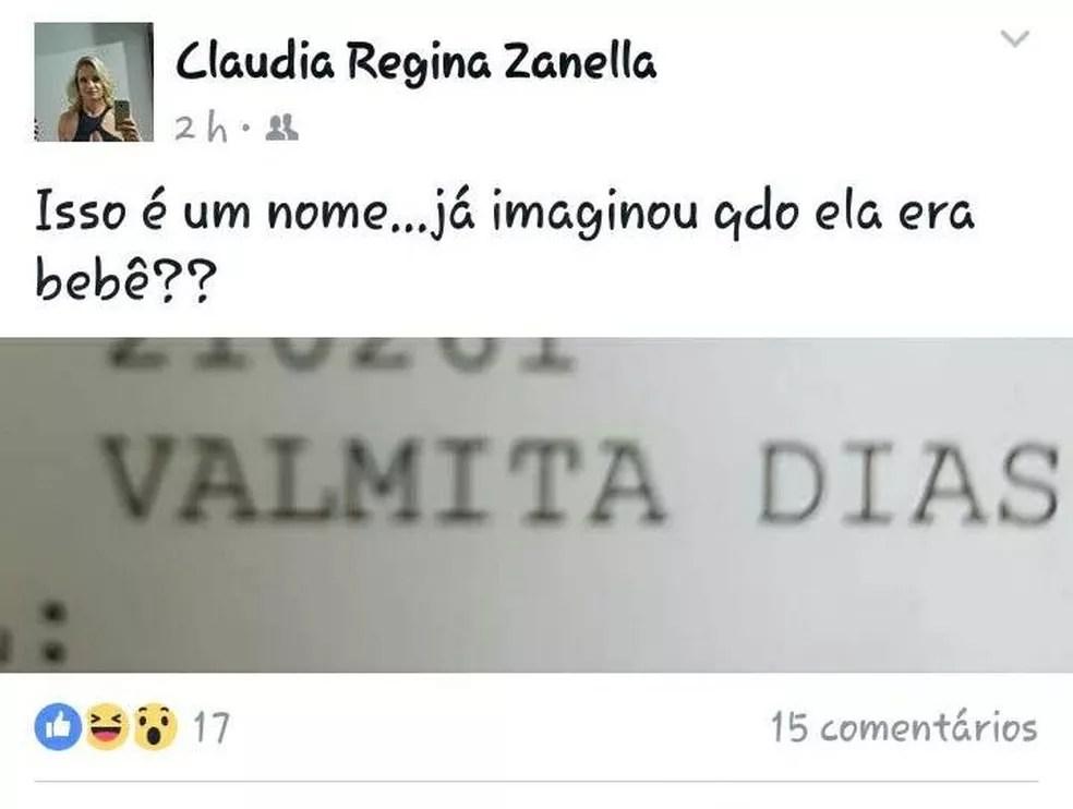 Médica fez comentário sobre nome de paciente em rede social (Foto: Arquivo Pessoal)