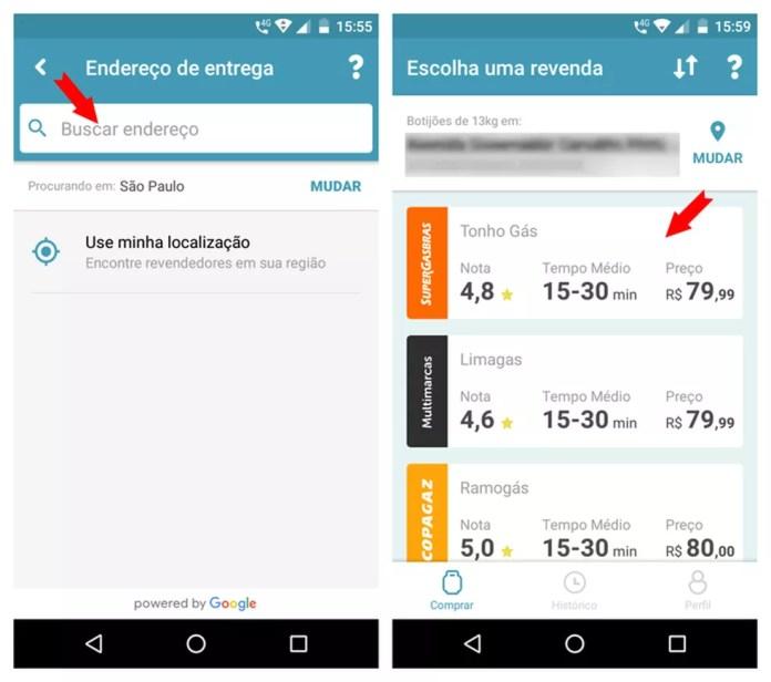 Nos resultados do app Chama, aparecem informações como o preço de cada revendedor, o tempo médio e a nota dos clientes — Foto: Reprodução/Adriano Ferreira