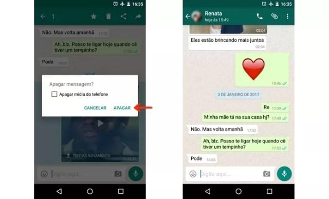 Conversa do WhatsApp sem foto ou vídeo enviados indevidamente (Foto: Reprodução/Raquel Freire)