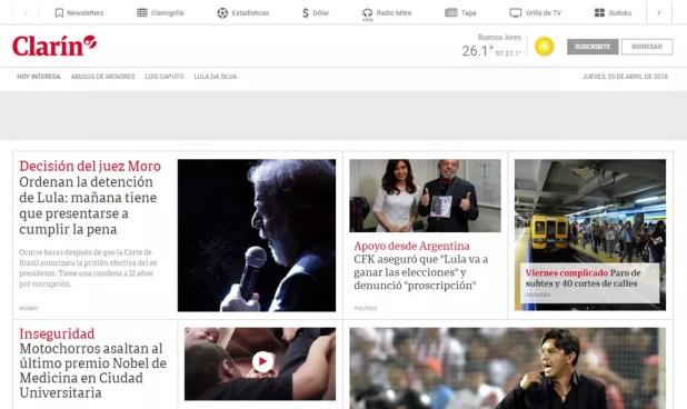 Site do jornal argentino 'Clarín' noticia mandado de prisão de Lula (Foto: Reprodução/ Clarin.com)