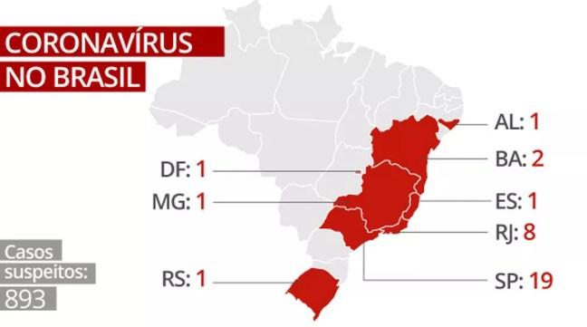 Mapa coronavírus no Brasil — Foto: Arte/G1
