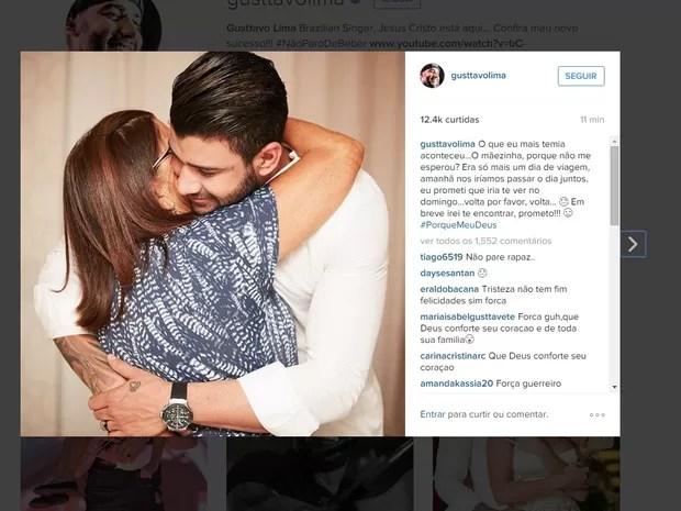 Gusttavo Lima se pronunciou no Instagram e pediu para mãe voltar (Foto: Reprodução/Istagram)