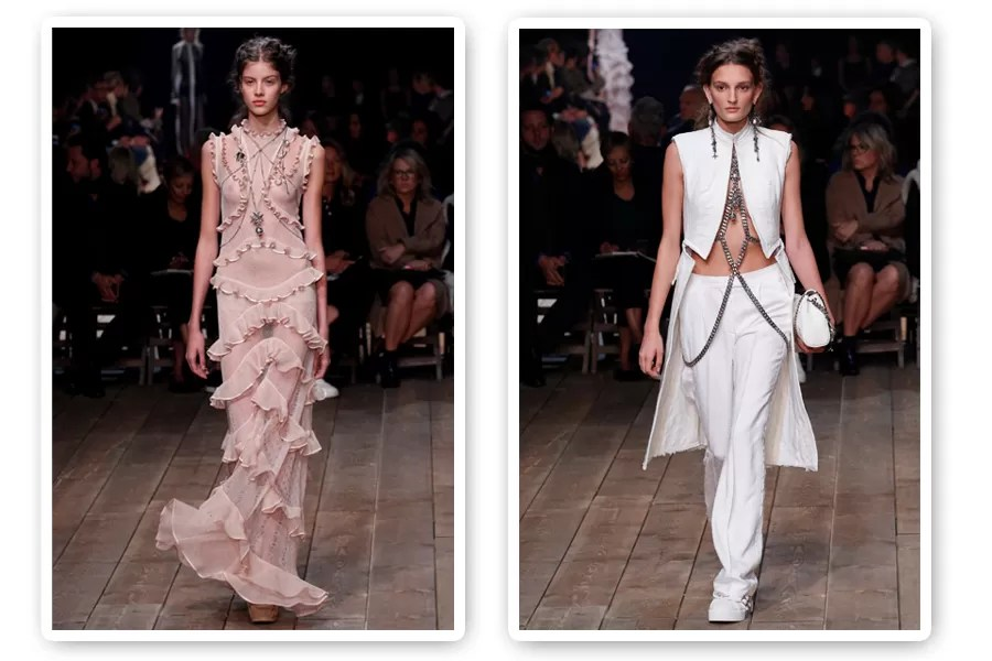 No desfile de Alexander McQueen, versões vintage das body chains acompanhavam belos vestidos de festa (Foto: Imaxtree)