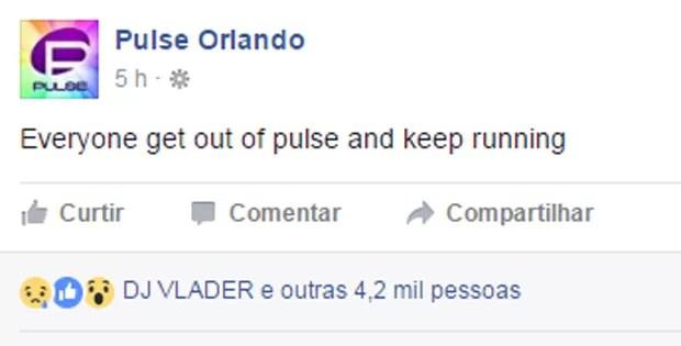 No Facebook, boate pede para todos saírem e correrem (Foto: Reprodução/Facebook)
