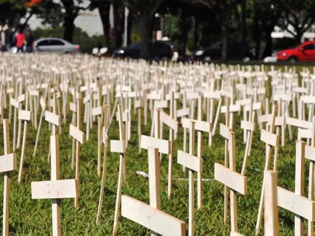 Cerca de cinco mil cruzes espalhadas em frente ao Congresso Nacional (Foto: Maria Luiza Araújo/  Vc no G1)