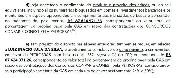 Trecho da denúncia contra Lula e mais 7 pessoas pede a devolução de milhões de reais à Petrobras (Foto: Reprodução)