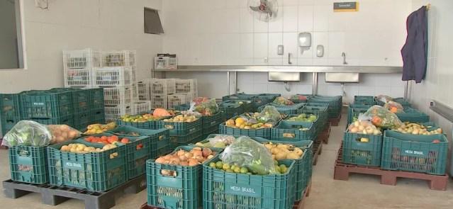 Projeto Mesa Brasil faz o trabalho de coleta, seleção dos produtos próprios para o consumo e distribuição — Foto: TVCA/Reprodução