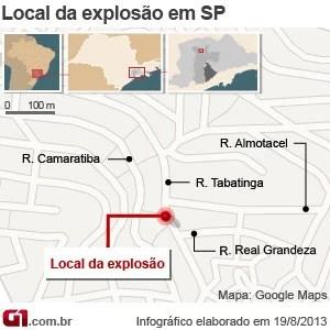mapa explosão brasilândia (Foto: Arte/G1)