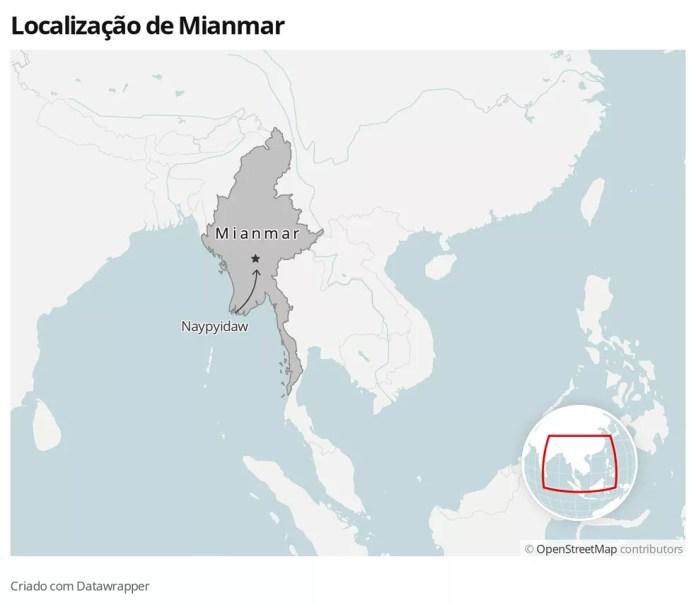 Mapa mostra localização de Mianmar e da capital, Naypyitaw — Foto: G1