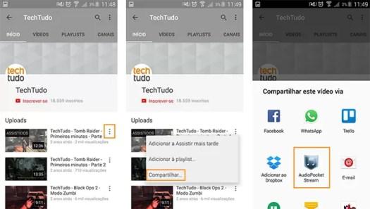 Selecione o vídeo que deseja ouvir no app do YouTube (Foto: Reprodução/Barbara Mannara)