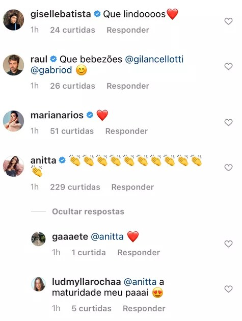 Anitta comments post by Giovanna Lancellotti (Photo: Reproduction)