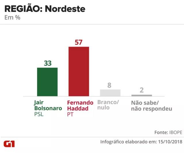 Pesquisa Ibope - 15 de outubro - intenção de voto por segmentos - região: Nordeste — Foto: Arte/G1