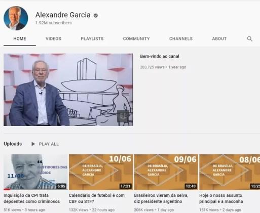Canal do jornalista Alexandre Garcia