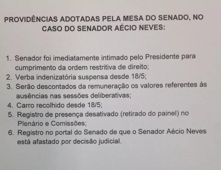 Em nota de esclarecimento, Senado esclarece que salário de Aécio Neves será mantido, mas terá desconto (Foto: Reprodução/Senado)