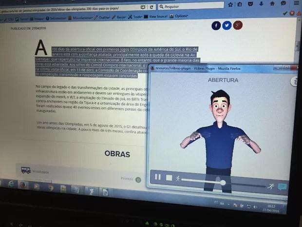 VLibras 'traduzindo' trecho de página na internet (Foto: Gabriel Luiz/G1)