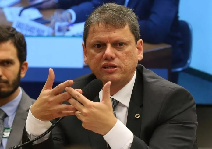 O ministro da Infraestrutura, Tarcísio Freitas — Foto: José Cruz/Agência Brasil