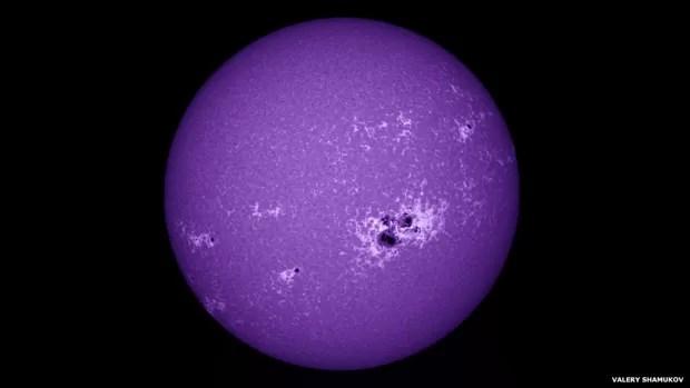 Valery Shamukov inscreveu essa imagem do Sol, fotografada com uma gama de cores bem reduzida (Foto: Valery Shamukov)
