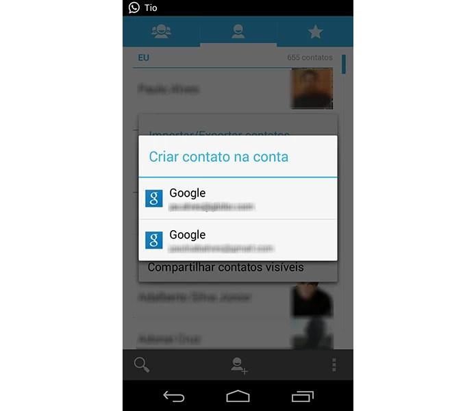 Se tiver mais de uma conta Google, escolha para qual deseja enviar seus contatos do SIM (Foto: Reprodução/Paulo Alves) (Foto: Se tiver mais de uma conta Google, escolha para qual deseja enviar seus contatos do SIM (Foto: Reprodução/Paulo Alves))