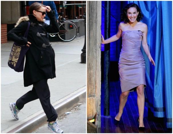 Natalie Portman em maio de 2011 (à esq.) e em novembro de 2013. Em junho de 2011, nasceu o filho da atriz, Aleph. (Foto: Getty Images)