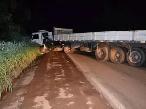 Motorista do caminhão permaneceu no local do acidente e depois prestou esclarecimentos à polícia (Foto: Divulgação/Surgiu)