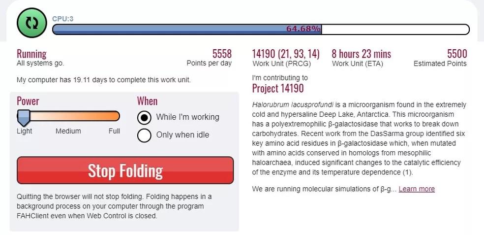 Folding@Home dá informações de quantos núcleos está usando e qual projeto o usuário está ajudando. — Foto: Reprodução