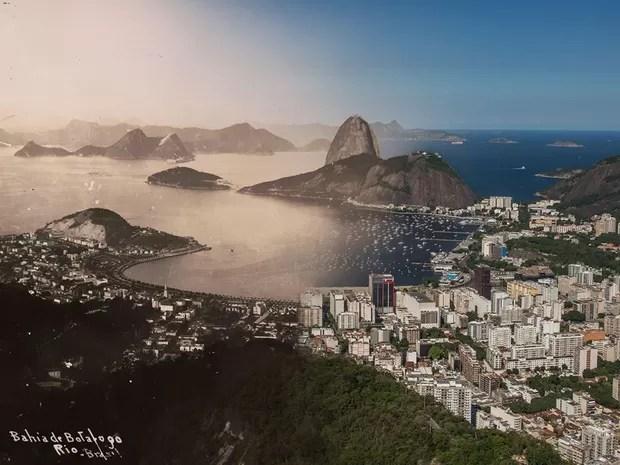 Vista da Praia de Botafogo em dois tempos (Foto: Augusto Malta e Marcello Cavalcanti / Divulgação)
