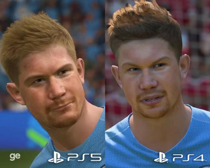 PS5 x PS4: veja comparativo gráfico com De Bruyne no FIFA 22 — Foto: Reprodução/ge