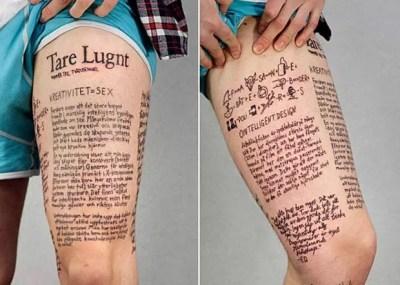 Em 2009, após lançar seu fanzine no tradicional papel, o artista gráfico sueco Marc Strömberg decidiu inovar na terceira edição da revista 'Tare Lugnt'. Ela foi publicada em forma de tatuagem. (Foto: Reprodução)