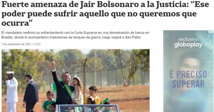 Imagem do jornal'La Nación' sobre as manifestações pró-Bolsonaro, em 7 de setembro de 2021 — Foto: Reprodução/La Nación