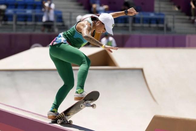 Letícia Bufoni treinando na pista de skate das Olimpíadas de Tóquio 2020 — Foto: Ezra Shaw / Getty Images