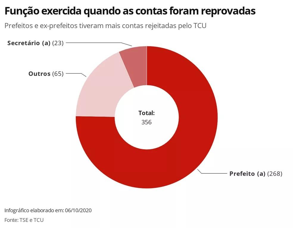Função exercida pelos candidatos quando as contas foram reprovadas — Foto: Juliane de Souza/G1